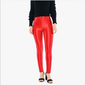 American Apparel red stretch disco pants size S